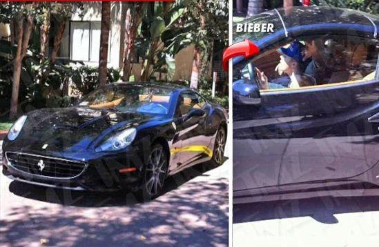 Justin Bieber v jeho Ferrari
