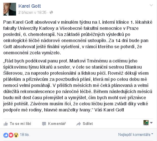 Karel Gott - prohlášení