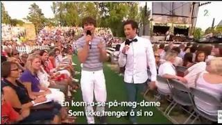 """Alexander Rybak og Didrik Solli-Tangen - """"Allsang på grensen"""" at 'Drømmedame' , 30.06.2011 :)"""