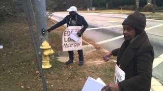 EXCLUSIVE: Protesters Almost RUN OVER by EVIL Eddie Long Supporter!