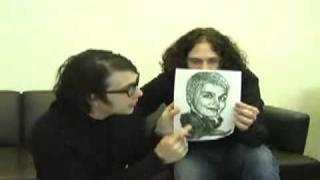 Frank Iero and Ray Toro with some art fan stuff