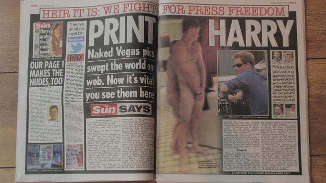 """Nahý princ Harry to """"dotáhl"""" do předních světových novin"""