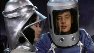 Actress Martine Beswick In Weird 60's Ornate Space Suit And Helmet