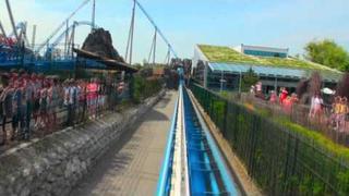 blue fire Megacoaster powered by GAZPROM, die Katapult-Achterbahn im Europa-Park