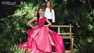 Emmy Rossum and Designer Monique Lhuillier on Her Vanity Fair Red Carpet Dress
