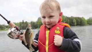 Funny Boy Fishing - Catches His First FISH!