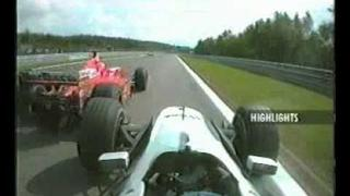 Häkkinen předjíždění Schumacher