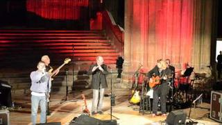 Ian Anderson from Jethro Tull with Bruce Dickinson form Iron Maiden in Canterbury Cathedral