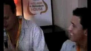 Jan Smit with Brad Blanks at Heineken House Beijing Olympics