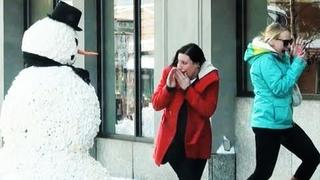 just for laughs 2011 new episodes Funny Street Prank with a Fake moving Snowman