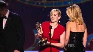 Kate Winslet wins an Emmy for Mildred Pierce at the 2011 Primetime Emmy Awards!