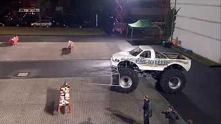 Kelly Clarkson driving a Monster Truck