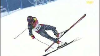 Pád při velkém slalomu Torino 2006