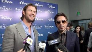 Robert Downey Jr. & Chris Hemsworth Talk 'The Avengers' At Disney D23 Expo