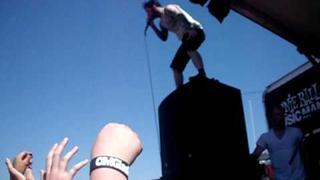 Wil Francis jumping off a monitor at the San francisco Vans Warped tour Pier 30/32 6.27.09