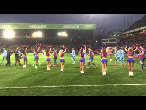 Teams walking out at Crystal Palace Man City.